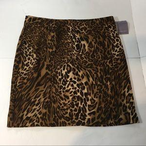 NWT Laura Scott Skirt 12 Moleskin Animal A-Line
